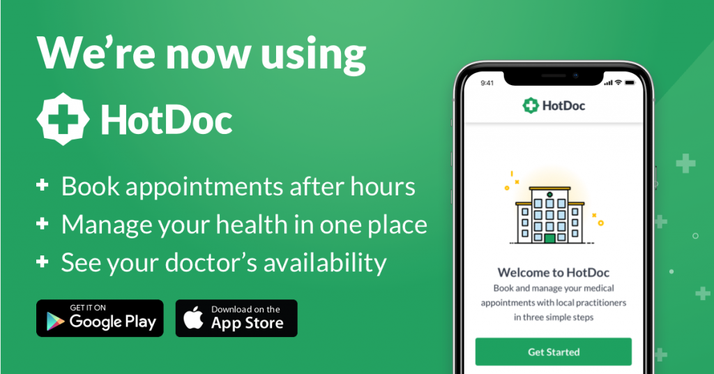 Download the HotDoc app and book online.